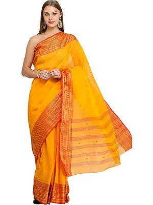 Radiant-Yellow Tangail Sari from Kolkata with Woven Bootis and Zari Border