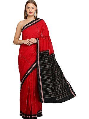 Scarlet-Red and Black Handloom Sari from Sambhalpur with Temple Border and Ikat Weave on Pallu