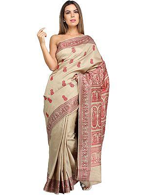Oyester-Gray Baluchari Sari with Hand-Woven Dancing Apsaras on Aanchal