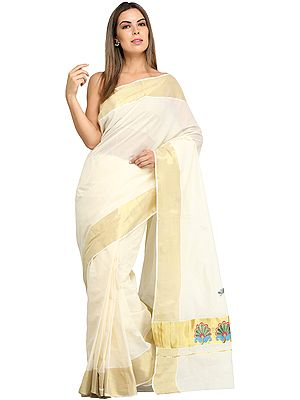 Banana-Cream Kasavu Sari from Kerala with Golden Border and Embroidered Flowers on Pallu