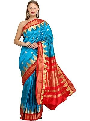 Blue-Jewel Traditional Brocaded Sari from Bangalore with Woven Bootis and Temple Border