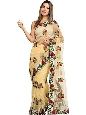 Double-Cream Net Sari with All-Over Floral Ari Embroidery and Crystals