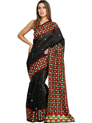 Phantom-Black Phulkari Sari from Punjab with Embroidered Bootis and Sequins
