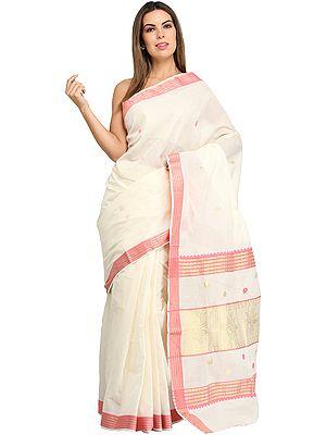 Ivory and Fandango-Pink Kasavu Sari from Kerala with Woven Paisleys and Border