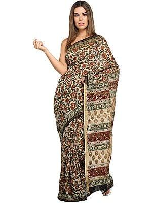 Warm-Sand Kalamkari Printed Sari from Amdhra Pradesh with Florals All Over