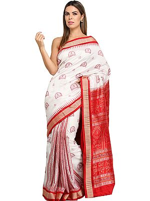 Flame-Scarlet Bomkai Sari from Orissa with Hand-Woven Folk Motifs and Temple Border