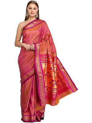 Magenta-Haze Paithani Sari with Hand-Woven Peacocks on Pallu
