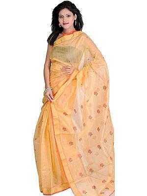 Flax-Yellow Chanderi  Sari from Madhya Pradesh with Woven Flowers and Zari Border