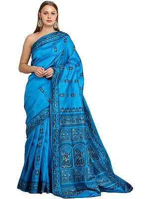 Diva-Blue Baluchari Sari from Bengal Depicting Mythological Episodes from Mahabharata