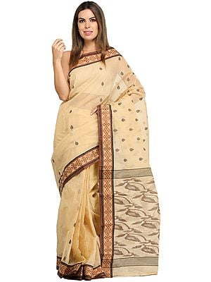 Desert-Dust Purbasthali Sari from Bengal with Woven Bootis and Border