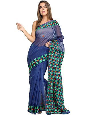 Dazzling-Blue Phulkari Sari from Punjab with Embroidered Bootis and Sequins
