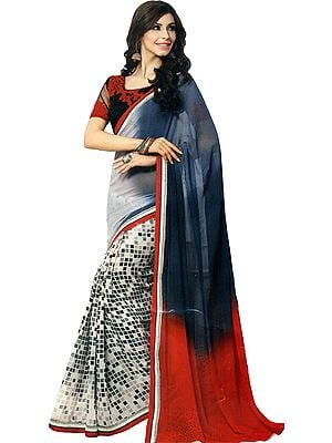 Flame-Scarlet Printed Georgette Sari with Ari Embroidered Border and Crystals on Pallu
