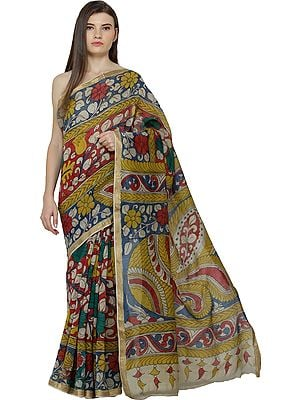 Multicolor Kalamkari Sari from Seemandhra with Painted Flowers and Woven Border