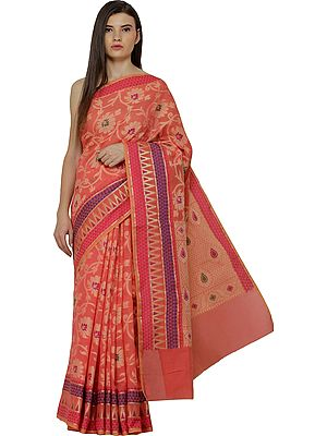 Kora-Cotton Sari from Banaras with Woven Flowers and Bootis All-Over