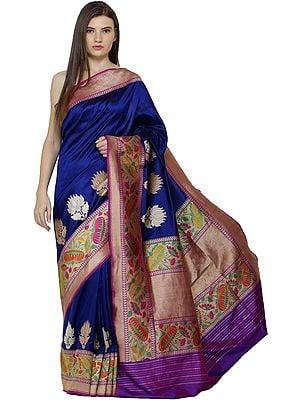 Dazzling-Blue Brocaded Sari from Banaras with Zari Kadhwa Border and Lotus Flowers