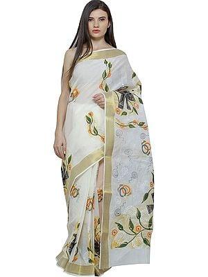 Off-White Hand-Painted Sari from Kolkata with Zari Thread Woven Border