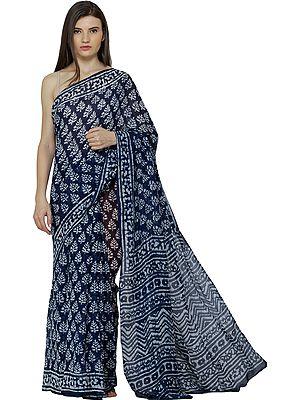 Twilight-Blue Mriganayani Sari with Bagdoo Block-Print