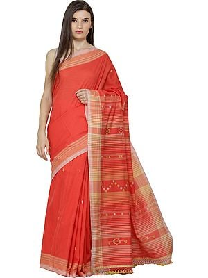 Pure Cotton Sari from Kutch with Checkered Border and Bootis Weave on Pallu