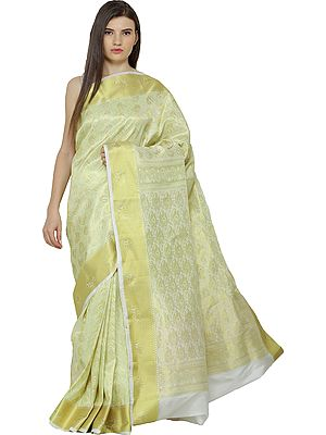 Canary-Yellow Brocaded Sari from Bangalore with Woven Bootis and Florals All-Over