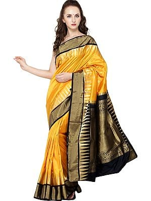 Marigold Traditional Brocaded Sari from Bangalore with Woven Bootis and Temple Border