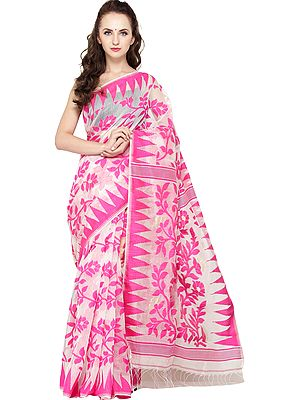 Rasberry-Sorbet Jamdani Sari from Bangladesh with Temple Border and Florals Weave All-Over