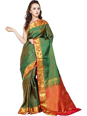 Vineyard-Green Traditional Brocaded Sari from Bangalore with Woven Bootis and Paiselys