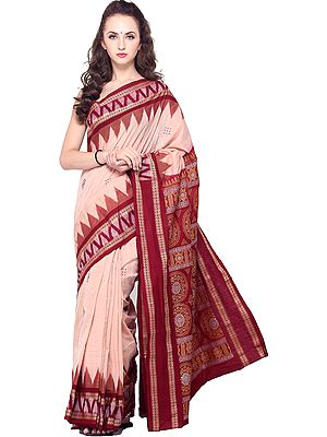 Spanish-Villa Bomkai Handloom Sari from Orissa with Woven Bootis on Border and Pallu