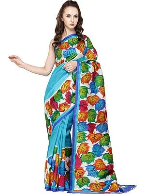 Hawaiian-Ocean Printed Sari from Kolkata with Multi-Color Leaves on Border and Pallu