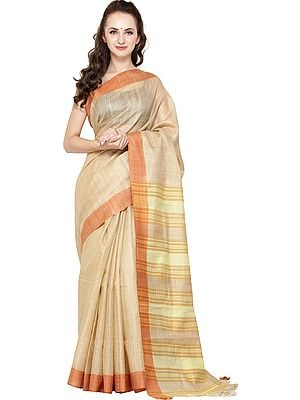 Marzipan Kosa Silk Sari from Jharkhand with Woven Stripes on Aanchal