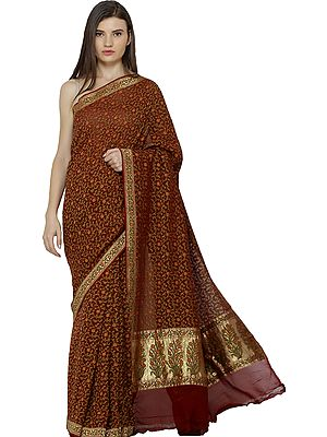 Mineral-Red Handloom Wedding Sari from Banaras with Zari-Woven Borer and Florals All-Over