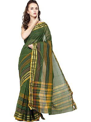 Garden-Green Mrignayani  Sari from Andhra Pradesh with Zari Border and Stripes