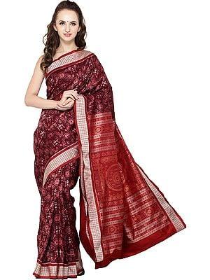 Windsor-Wine Sambhalpuri Handloom Sari from Orissa with Ikat Weave