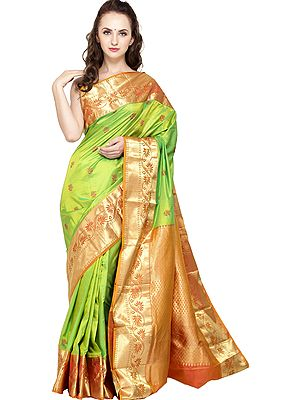 Lime-Green Traditional Brocaded Sari from Bangalore with Woven Flowers and Bootis