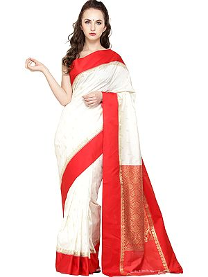 Pearl-White Jamdani Sari from Bangladesh with All-Over Woven Bootis and Brocaded Aanchal