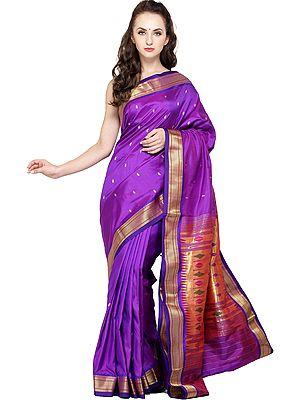 Dark-Purple Paithani Sari with Hand-Woven Peacocks on Pallu