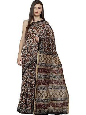 Warm-Sand Kalamkari Printed Sari from Andhra Pradesh with Florals All Over