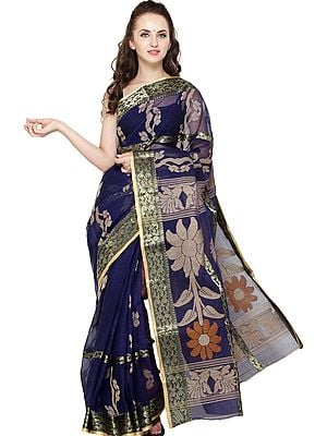 Twilight-Blue Purbasthali Sari from Bengal with Woven Flowers on Pallu