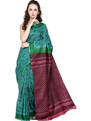 Marine-Green Block-Printed Sari from Madhya Pradesh with Florals All Over