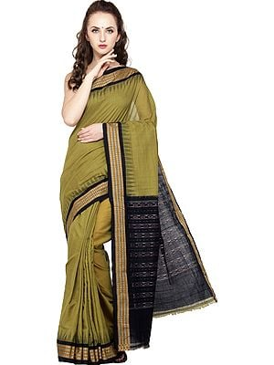 Green-Olive and Black Handloom Sari from Sambhalpur with Temple Border and Ikat Weave on Pallu