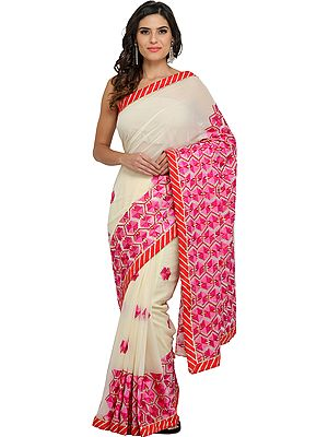 Cream Phulkari Sari from Punjab with Pink Hand-Embroidered Motifs and Patch Border
