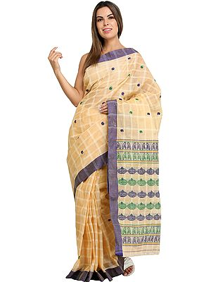 Banana-Grape Sari from Assam with Woven Bootis and Stripes