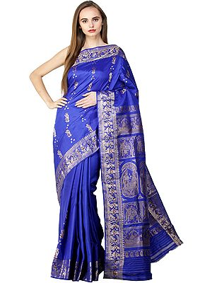 Dazzling-Blue Baluchari Sari from Bengal with Zari Woven Hindu Mythological Episodes