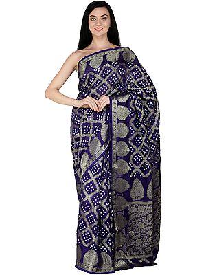 Bandhani Tie-Dye Sari from Gujarat with Zari Thread Woven Bootis and Flowers