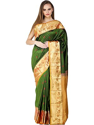 Vineyard-Green Traditional Brocaded Sari from Bangalore with Woven Flowers and Bootis
