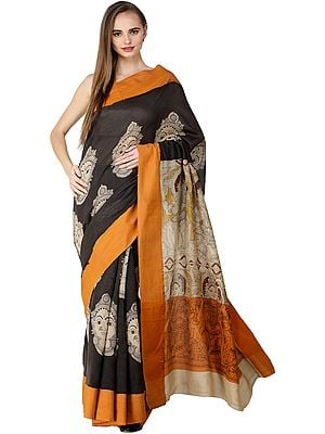 Pirate-Black Kalamkari Sari with Goddess Lakshmi Printed on Aanchal