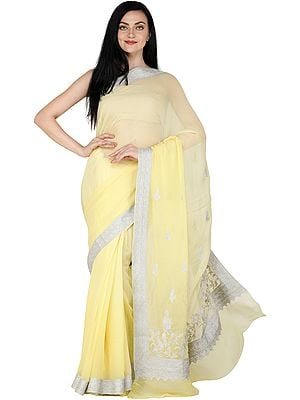 Yellow-Cream Sari from Kashmir with Silver Zari Thread Embroidered Border