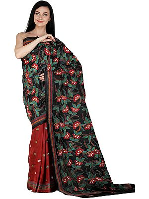 Phantom-Black Sari from Kolkata with Kantha Hand-Embroidered Flowers All-Over