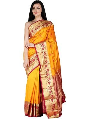 Dark-Cheddar Traditional Brocaded Sari from Bangalore with Woven Flowers and Bootis