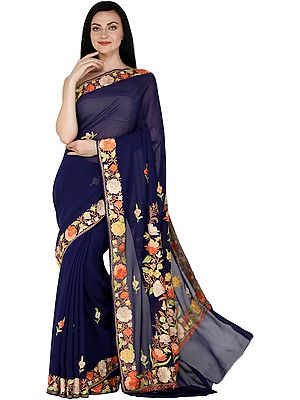 Sari from Kashmir with Ari Embroidered Flowers All-Over