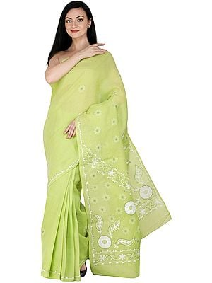 Bright-Lime Green Lukhnavi Chikan Sari with Hand-Embroidered White Flowers on Aanchal